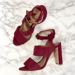 Madewell Shoes - Madewell Octavia Maroon Heels Sandals Shoes Size 6